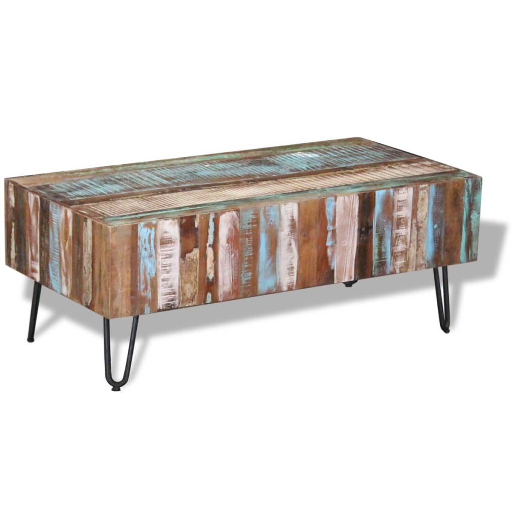 Vidaxl coffee table solid reclaimed wood 100x50x38 cm Recycled wood coffee table