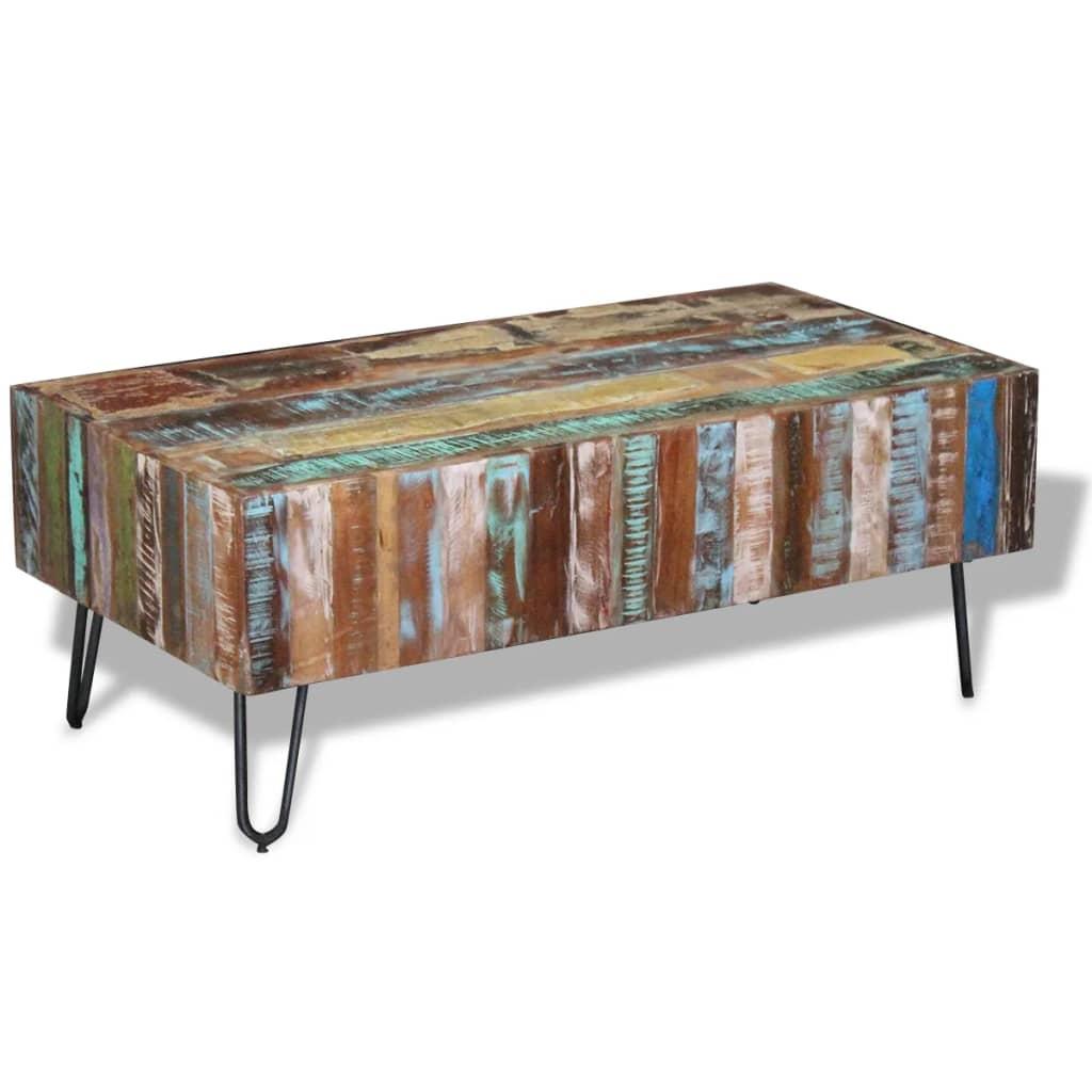 vidaXL 100x50x38 cm tömör újrahasznosított fa dohányzóasztal