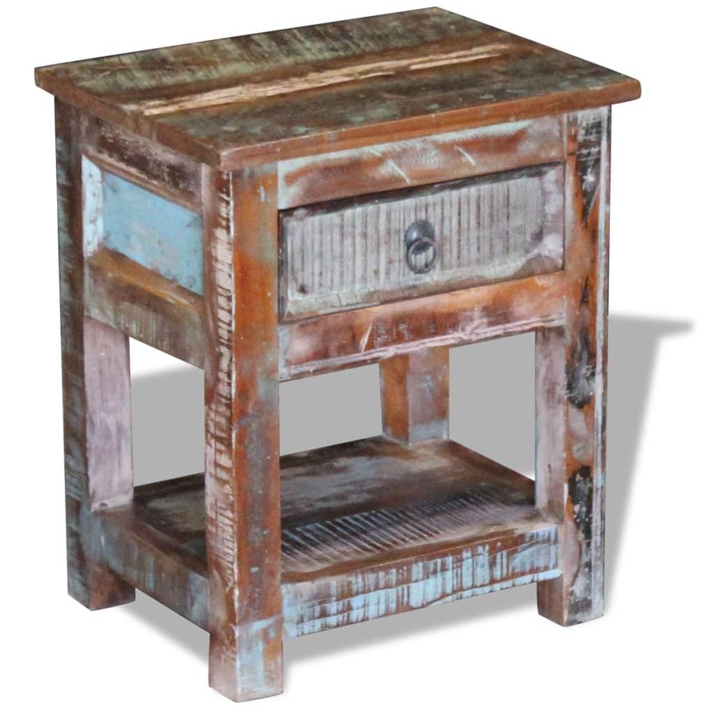 vidaXL Stolik boczny, szafka z 1 szufladą drewna odzyskanego 43x33x51 cm