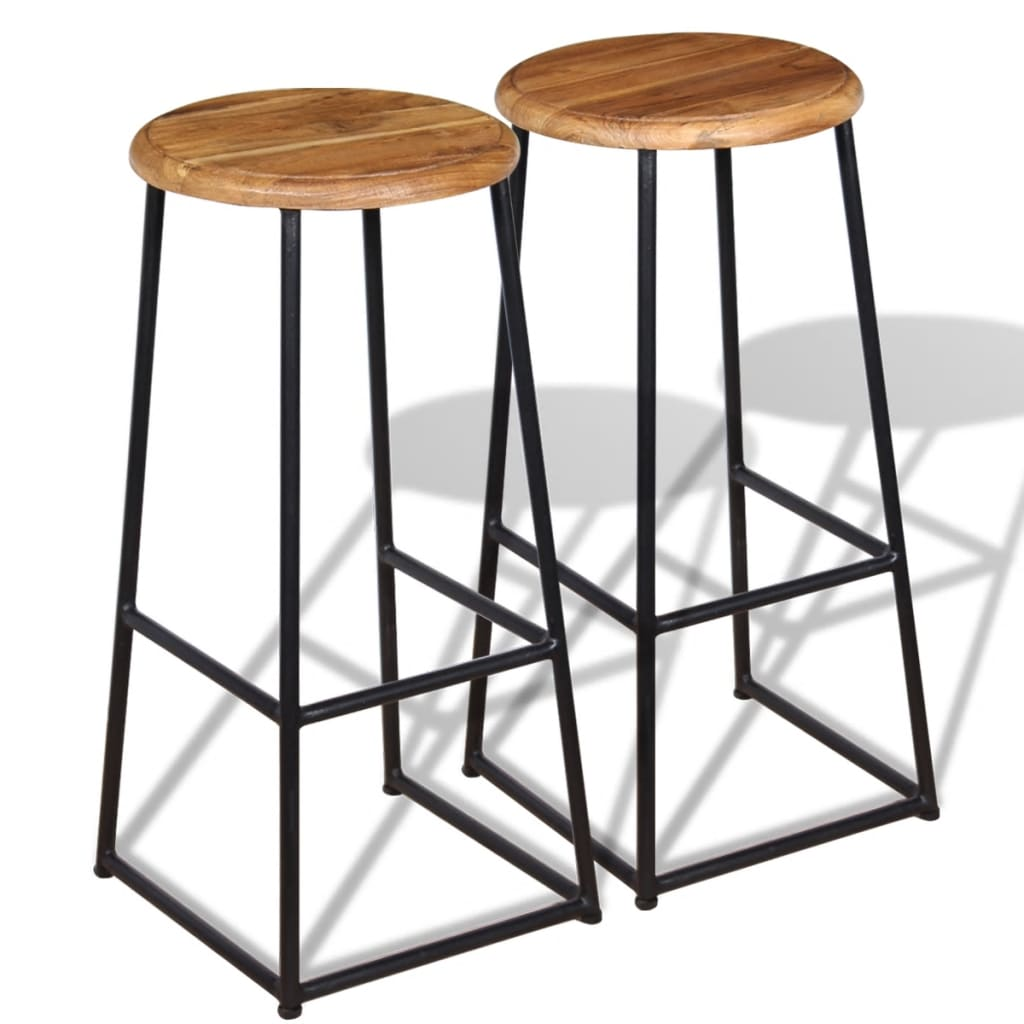 acheter vidaxl tabourets de bar 2 pi ces teck massif pas. Black Bedroom Furniture Sets. Home Design Ideas