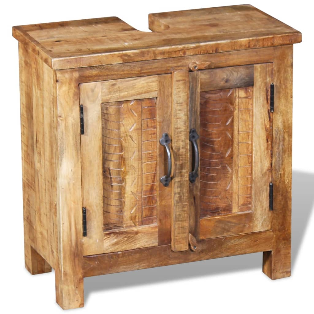 Vidaxl bathroom vanity cabinet with mirror solid mango wood Solid wood bathroom vanities cabinets