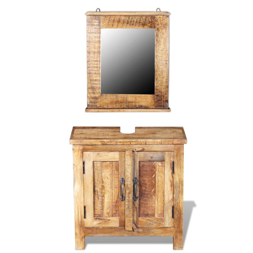 Vidaxl mueble de lavabo con espejo madera de mango maciza for Mueble lavabo madera