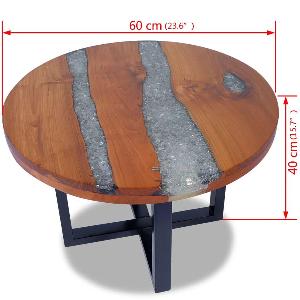Vidaxl coffee table teak resin 60 cm - Table largeur 60 cm ...