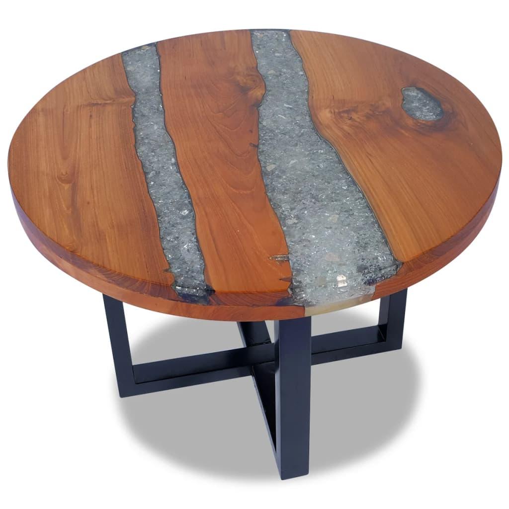 vidaXL Stolik kawowy z drewna tekowego i żywicy, okrągły 60 cm