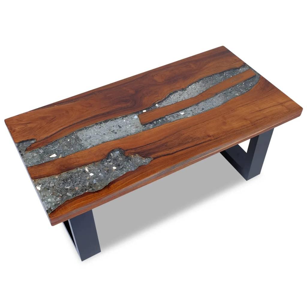 vidaXL 100x50 cm gyantázott tíkfa dohányzóasztal