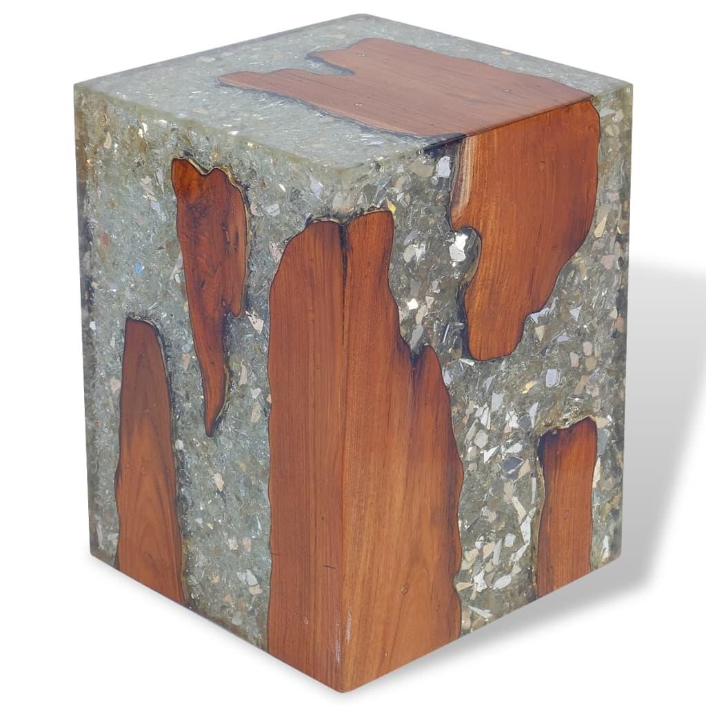 vidaXL Taboret z drewna tekowego i żywicy 30x30x40 cm
