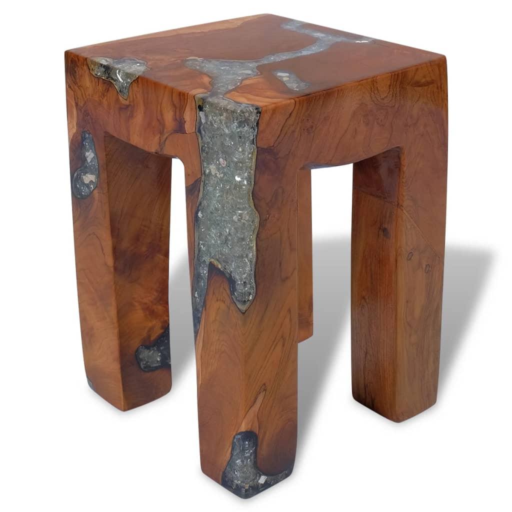 vidaXL Taboret na 4 nóżkach z drewna tekowego i żywicy 30x30x40 cm