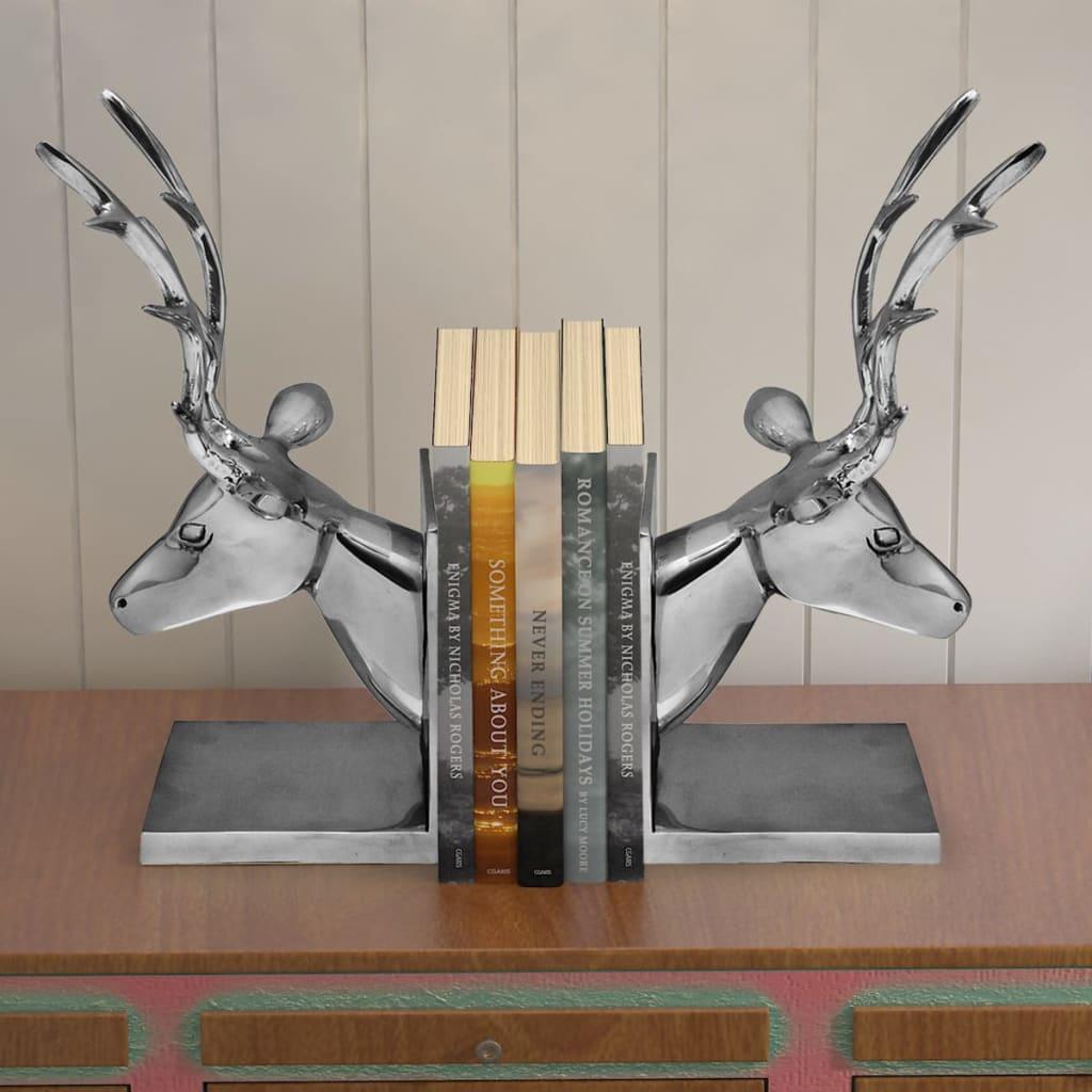 vidaXL-Sujetalibros-Diseno-de-Ciervo-Pack-de-2-Piezas-Aluminio-Color-Plateado