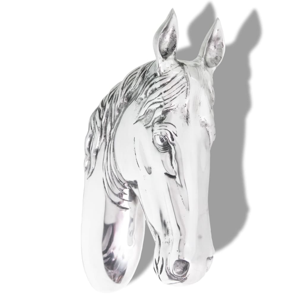Vidaxl horse head decoration wall mounted aluminium silver for Aluminium decoration