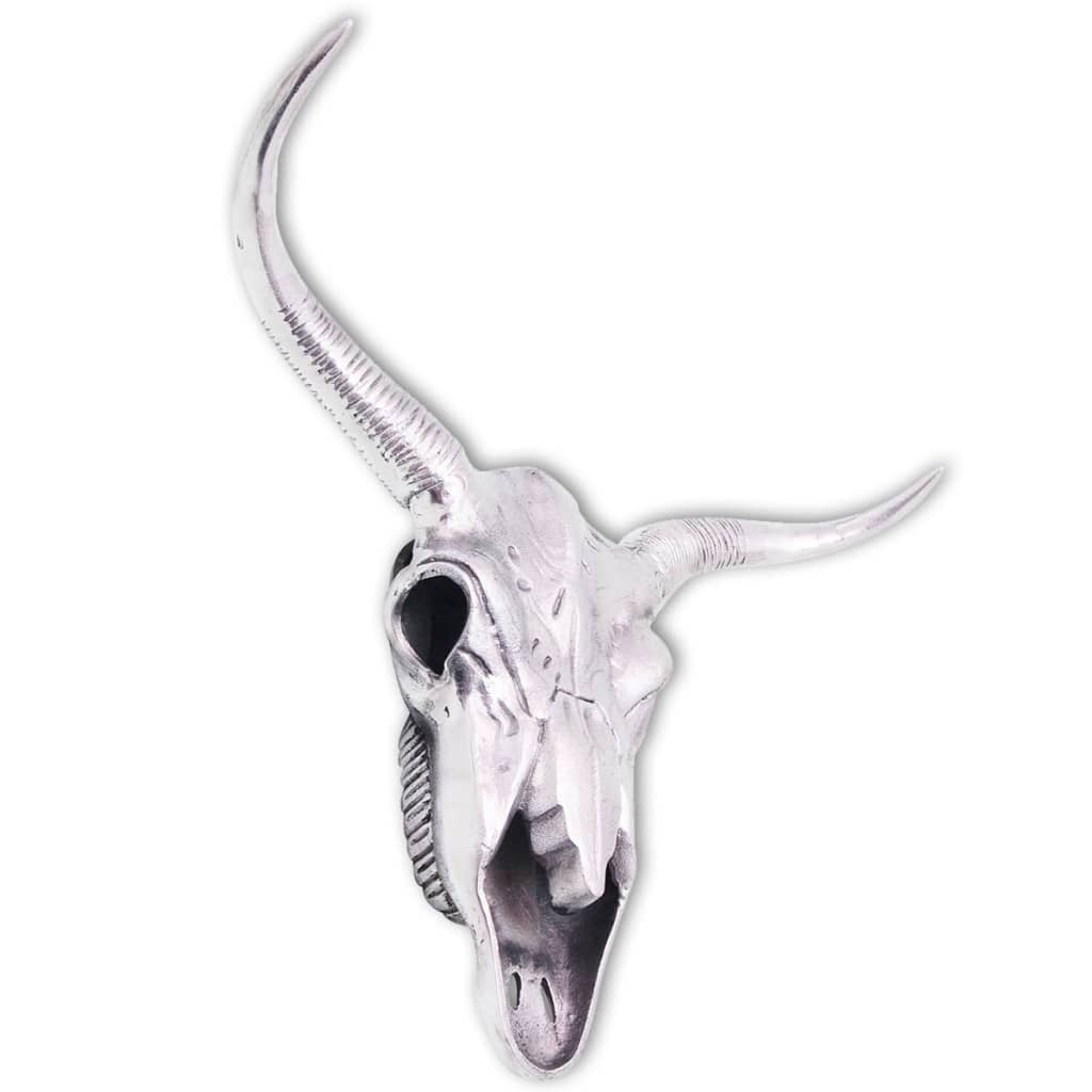 Vidaxl skull head decoration wall mounted aluminium silver for Aluminium decoration