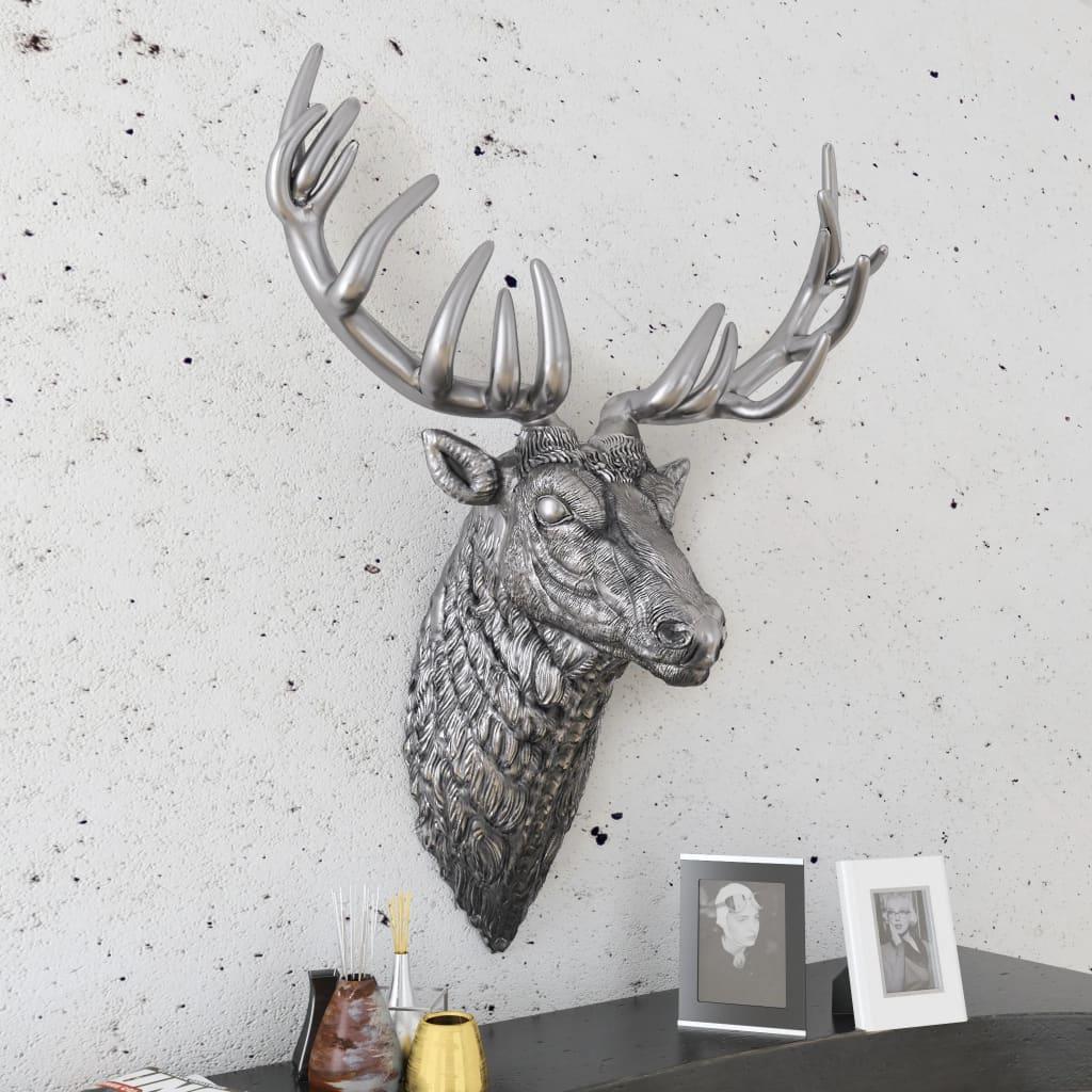 acheter vidaxl d coration murale en forme de t te de cerf aluminium argent pas cher. Black Bedroom Furniture Sets. Home Design Ideas