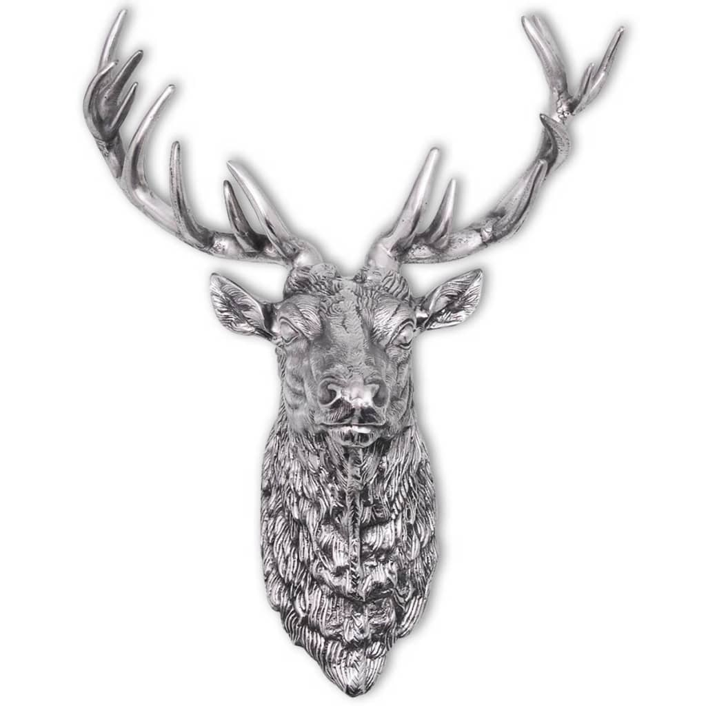 Vidaxl Deer Head Decoration Wall Mounted Aluminium Silver