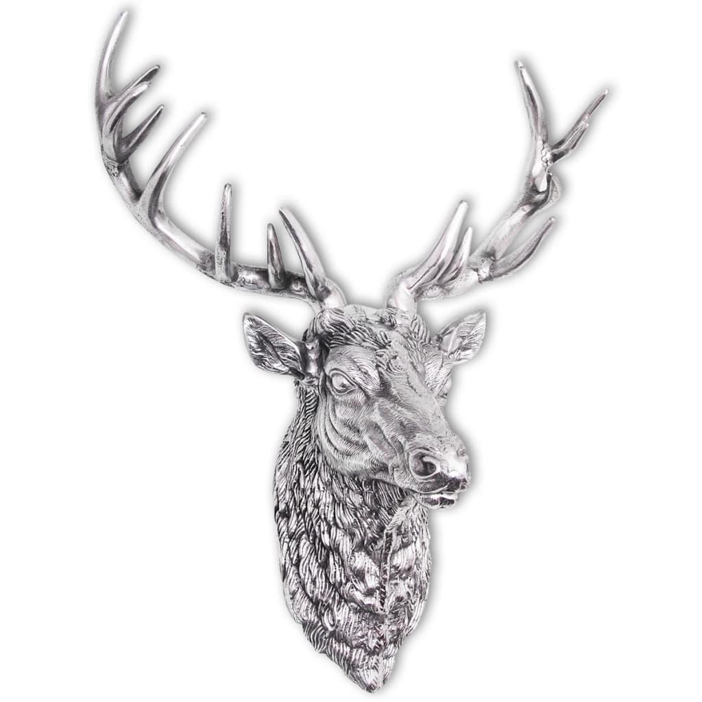 vidaXL falra rögzíthető szarvasfej dekoráció alumínium ezüst