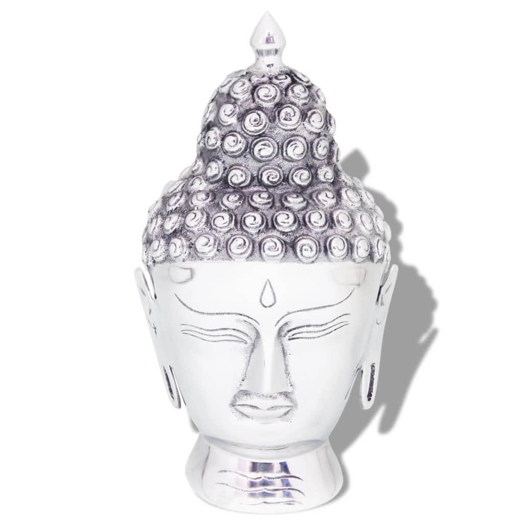 Afbeelding van vidaXL Boeddhahoofd ornament aluminium zilver