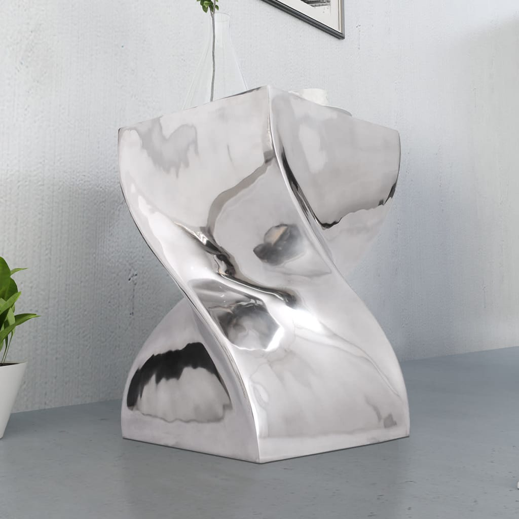 Vidaxl hocker beistelltisch verdrehte form silbern for Beistelltisch l form