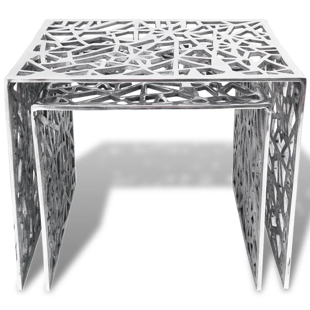 vidaxl mesa auxiliar cuadrada aluminio plateada 2 unidades