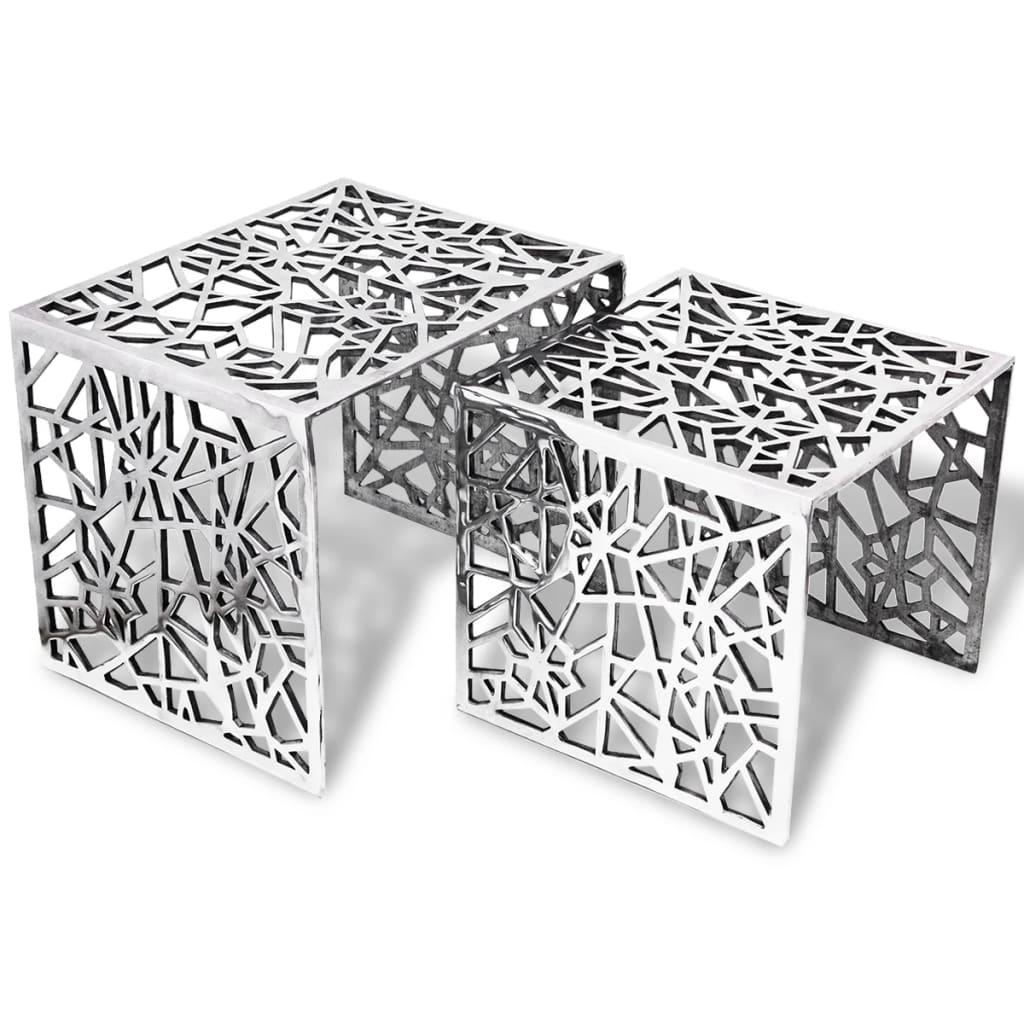 vidaXL 2 darab Ezüst négyzet alakú alumínium kisasztal