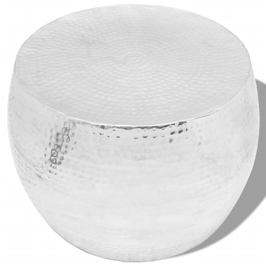 vidaXL Ezüst kerek alumínium dohányzóasztal