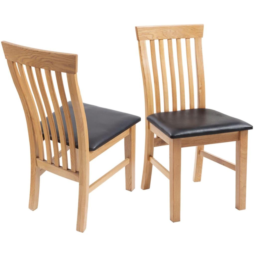 Vidaxl sillas de comedor de madera de roble 2 uds cuero for Sillas de cuero para comedor