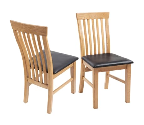 Vidaxl sillas de comedor de madera de roble 2 uds cuero for Sillas comedor roble