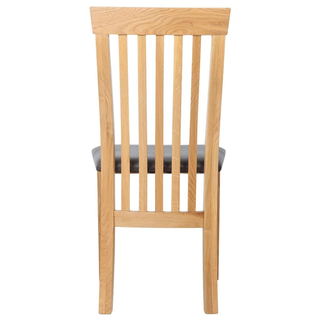 Vidaxl sillas de comedor de madera de roble 4 uds cuero for Sillas roble para comedor
