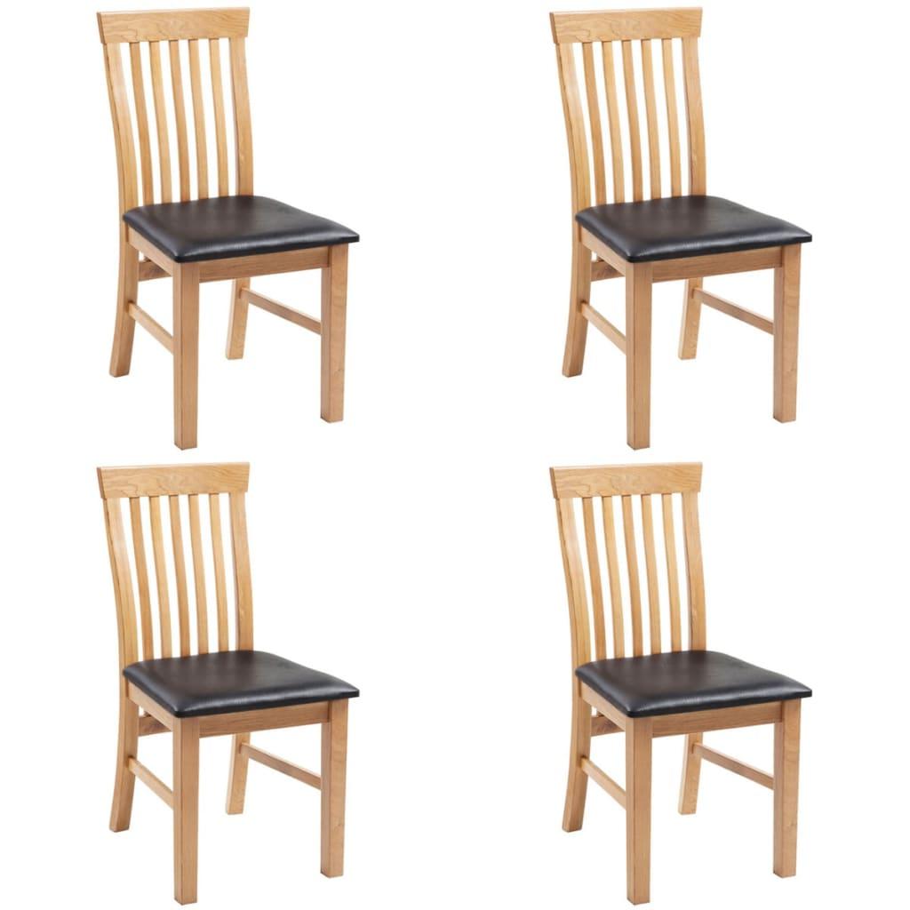Vidaxl oak wood dining chairs 4 pcs artificial leather for Wood leather dining chairs