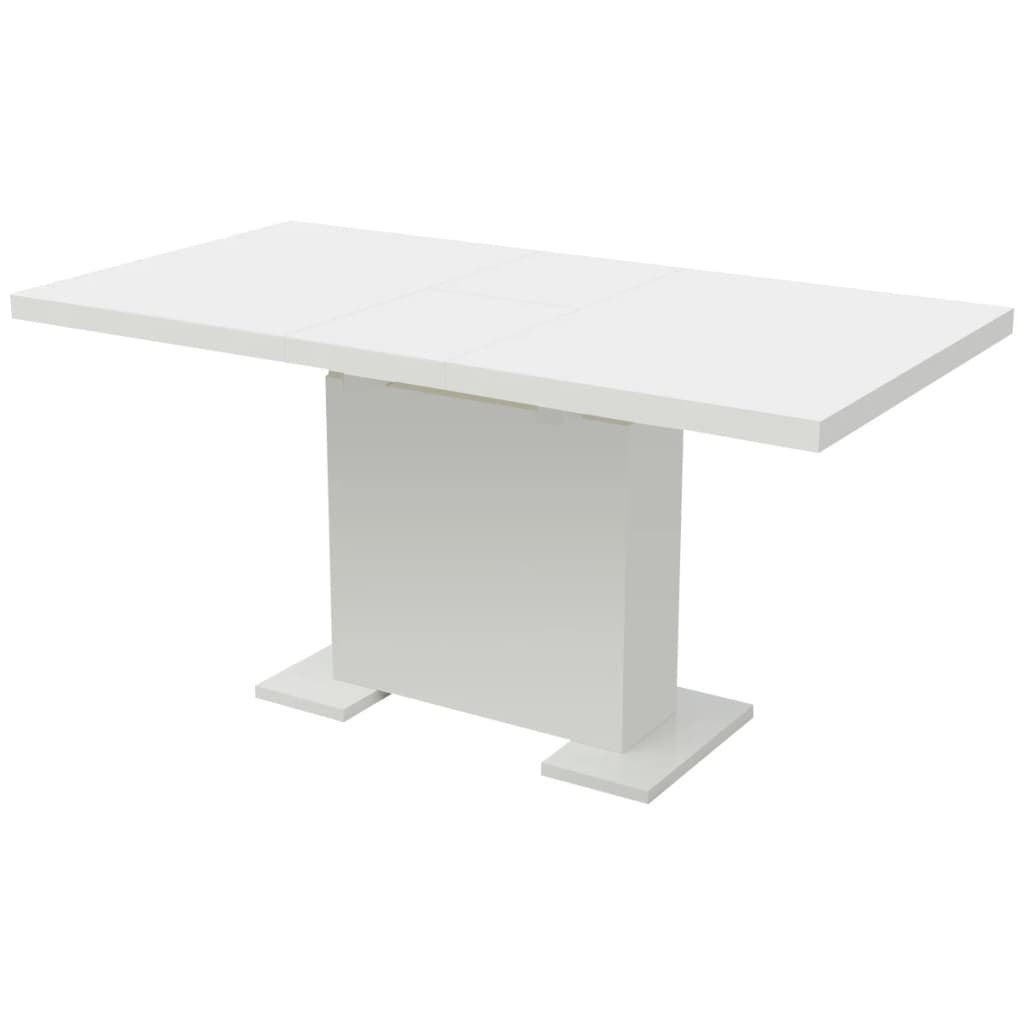vidaXL Stół do jadalni rozkładany, extra lśniący biały