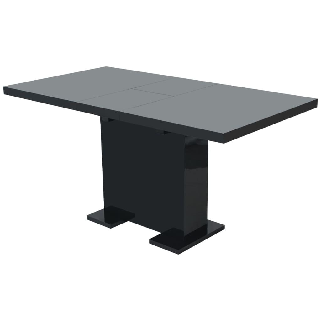 vidaXL magasfényű kihúzható étkezőasztal fekete