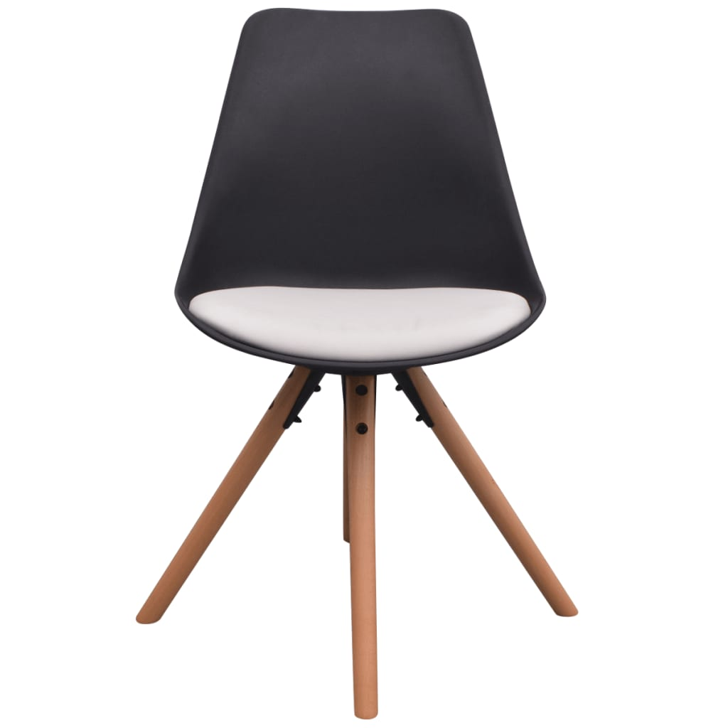 Acheter vidaxl chaises de salle manger 4 pcs cuir for Chaise de salle a manger noir et blanc
