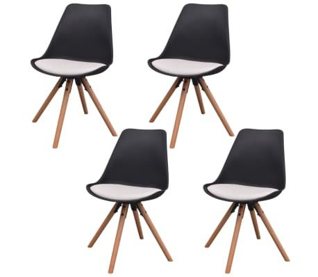 Vidaxl sillas de comedor 4 unidades cuero artificial negro for Sillas comedor cuero blanco