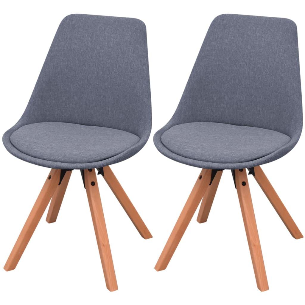 Vidaxl sillas de comedor 2 unidades tela gris claro for Sillas de tela comedor