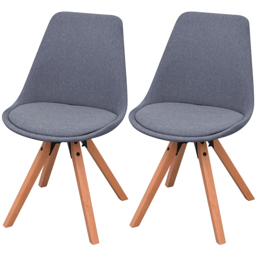 Vidaxl sillas de comedor 2 unidades tela gris claro - Tela para sillas de comedor ...