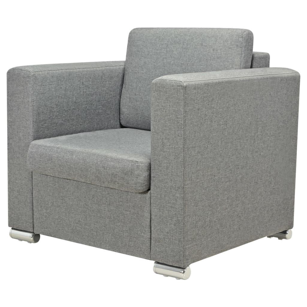 acheter vidaxl fauteuil tissu gris clair pas cher. Black Bedroom Furniture Sets. Home Design Ideas