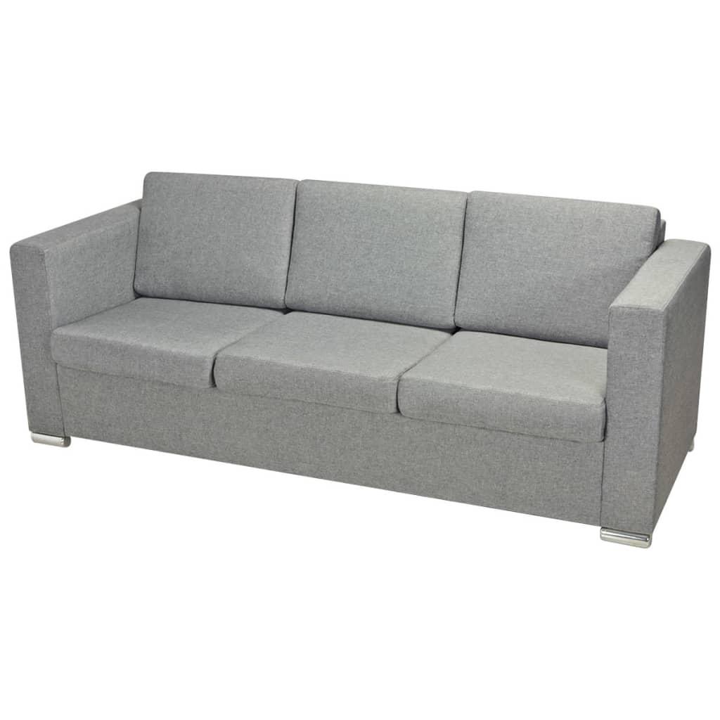 der vidaxl 3 sitzer sofa stoff hellgrau online shop. Black Bedroom Furniture Sets. Home Design Ideas