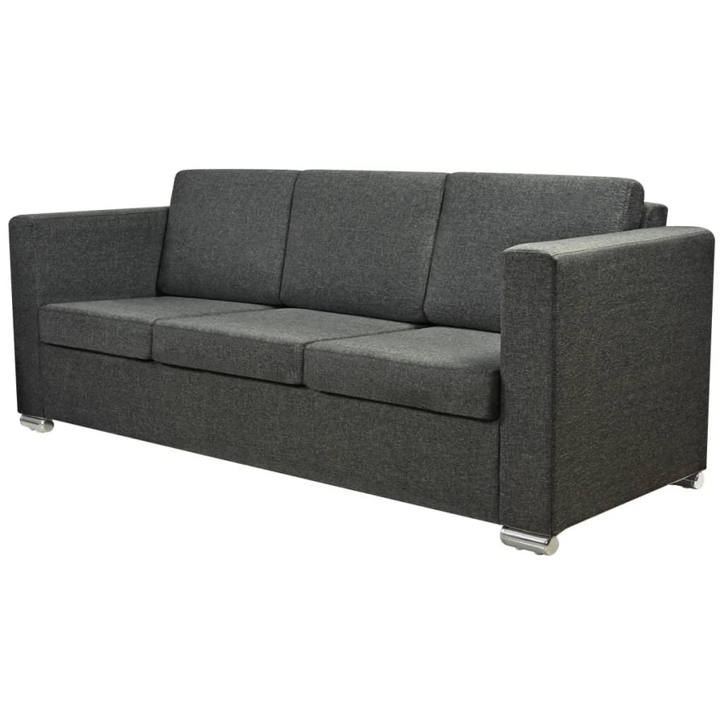 vidaXL 3 osobowa sofa tapicerowana ciemnoszara