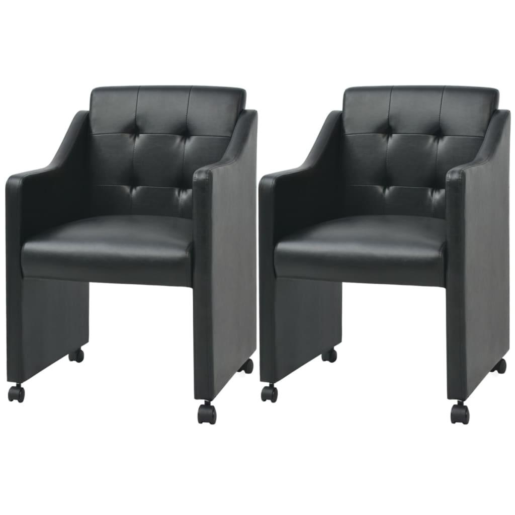vidaXL Krzesła do jadalni z czarną eko skórą 2 szt. 59x57,5x86,5 cm
