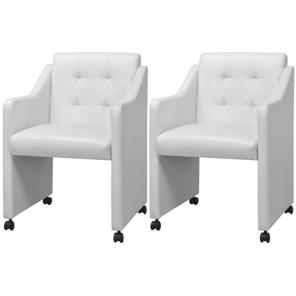 vidaXL Krzesła do jadalni z białą eko skórą 2 szt. 59x57,5x86,5 cm