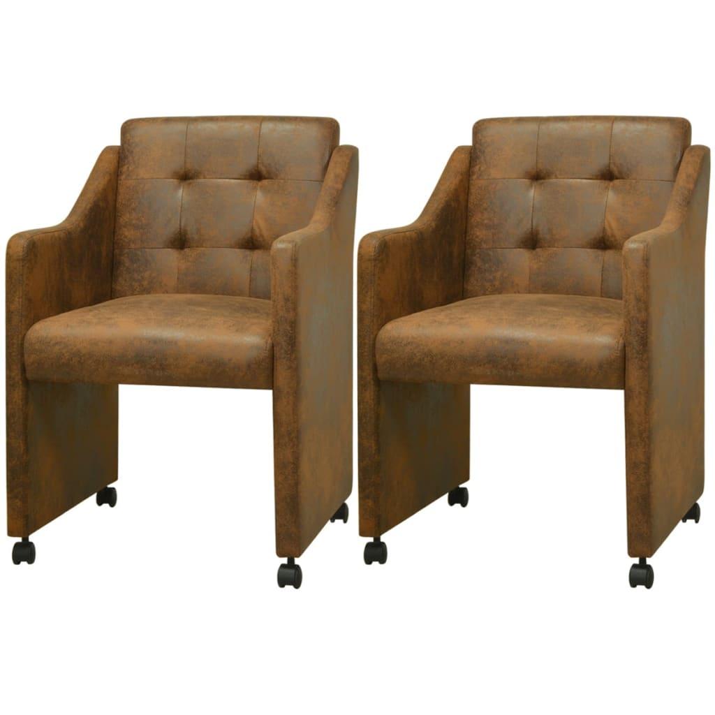 vidaXL Krzesła do jadalni z brązową eko skórą 2 szt. 59x57,5x86,5 cm