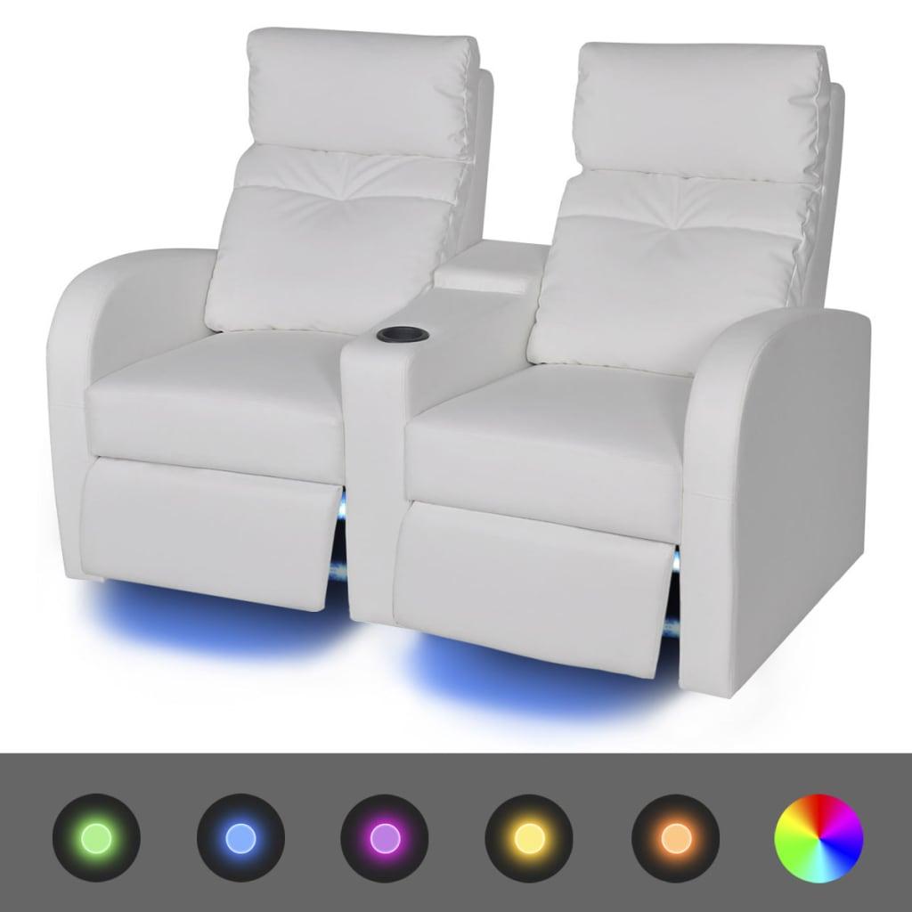 vidaXL Fotele kinowe 2 osobowe, biała, sztuczna skóra, z podświetleniem LED