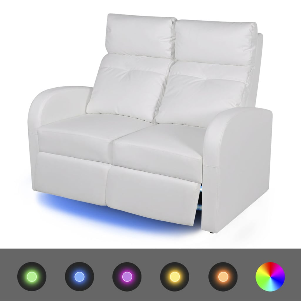 vidaXL LED 2 személyes műbőr dönthető támlájú fotel fehér