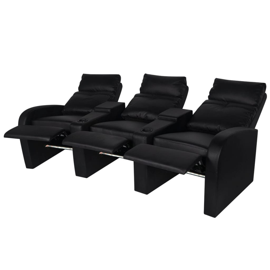 acheter vidaxl fauteuil inclinable led 3 places cuir artificiel noir pas cher. Black Bedroom Furniture Sets. Home Design Ideas