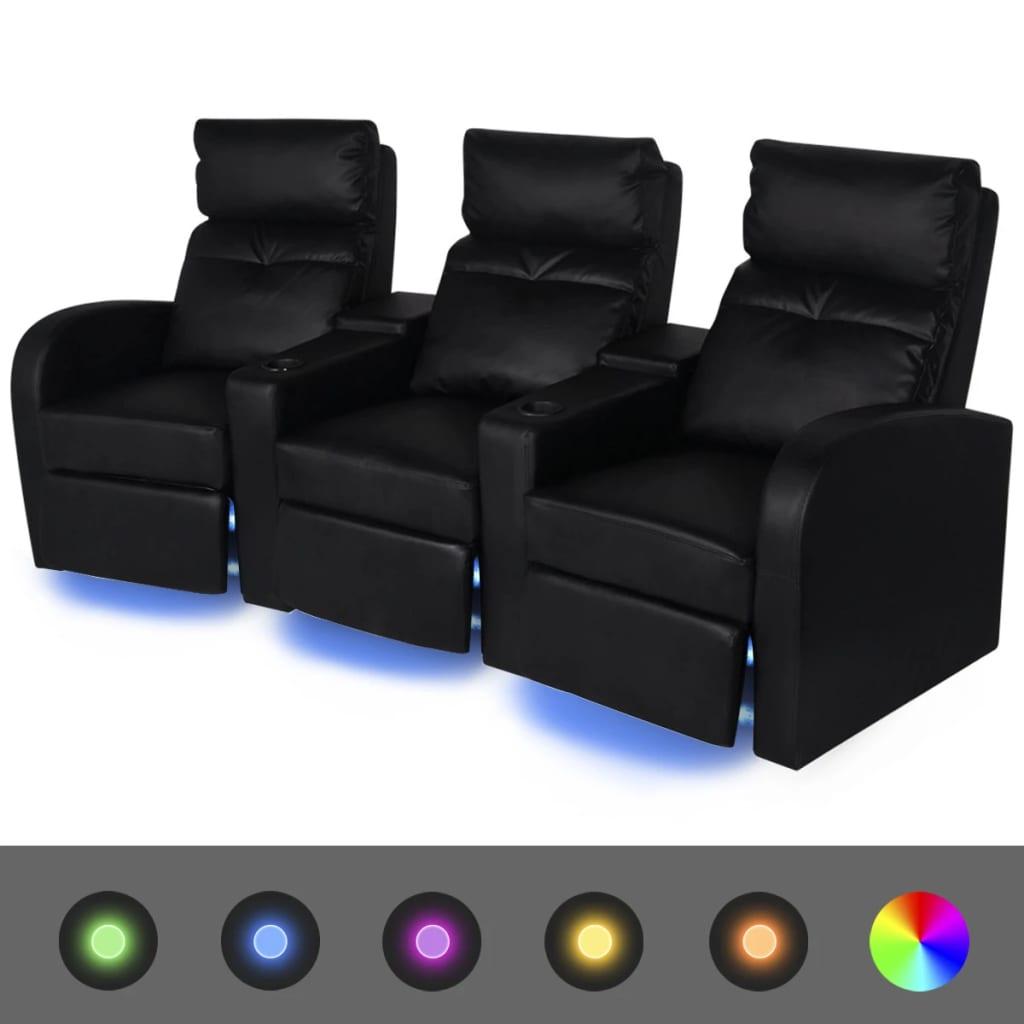 vidaXL LED 3 személyes műbőr dönthető támlájú fotel fekete