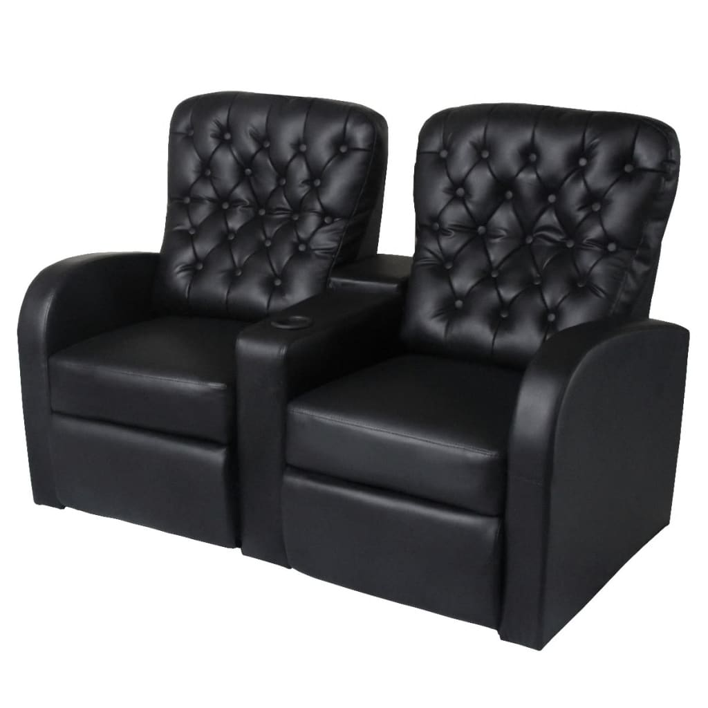 acheter vidaxl fauteuil inclinable 2 places cuir artificiel noir pas cher. Black Bedroom Furniture Sets. Home Design Ideas