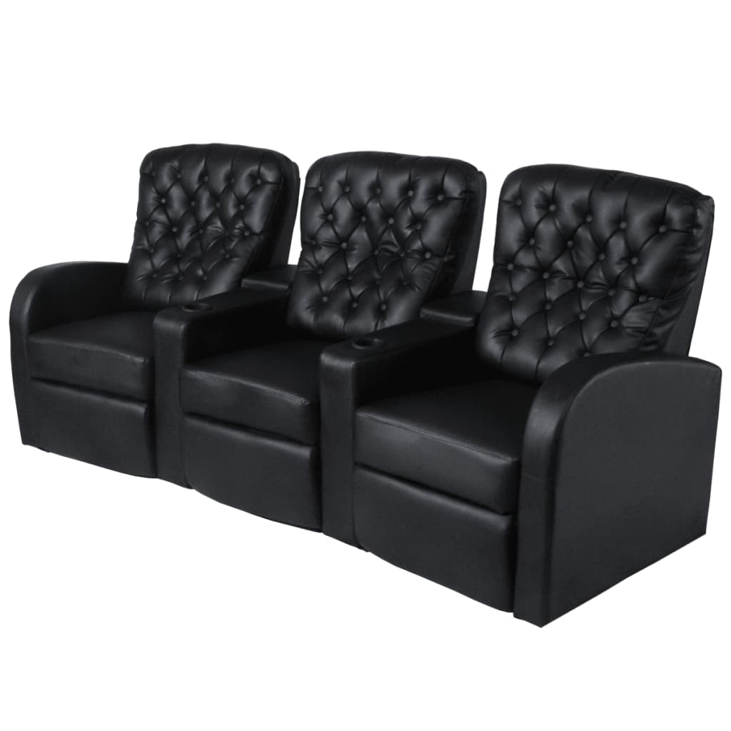 acheter vidaxl fauteuil inclinable 3 places cuir. Black Bedroom Furniture Sets. Home Design Ideas