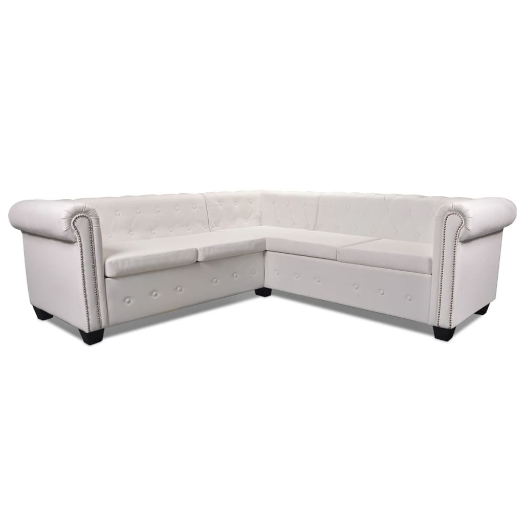 vidaxl chesterfield sofa 5 sitzer couch wohnm bel b rom bel kunstleder wei ebay. Black Bedroom Furniture Sets. Home Design Ideas