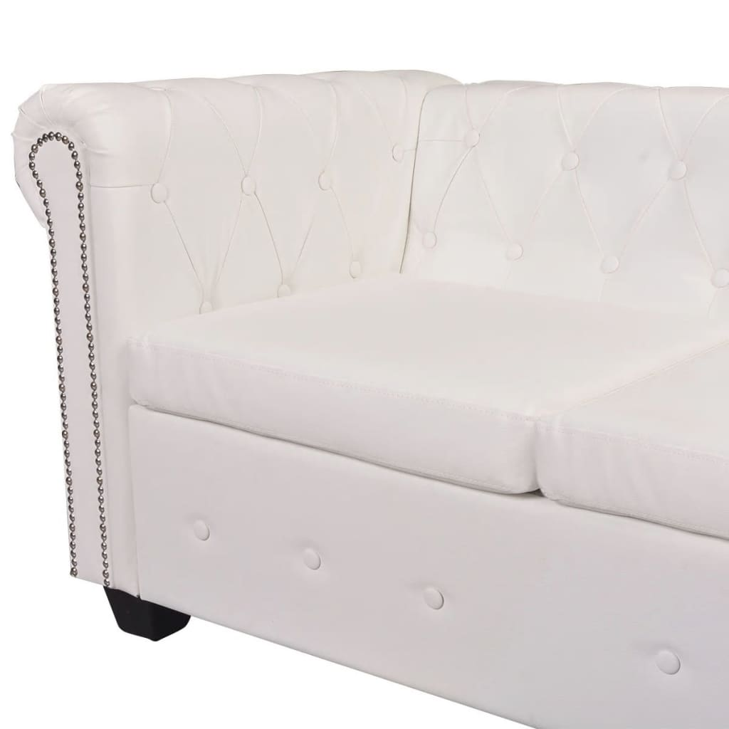 acheter vidaxl canap d 39 angle chesterfield 5 plc cuir artificiel blanc pas cher. Black Bedroom Furniture Sets. Home Design Ideas