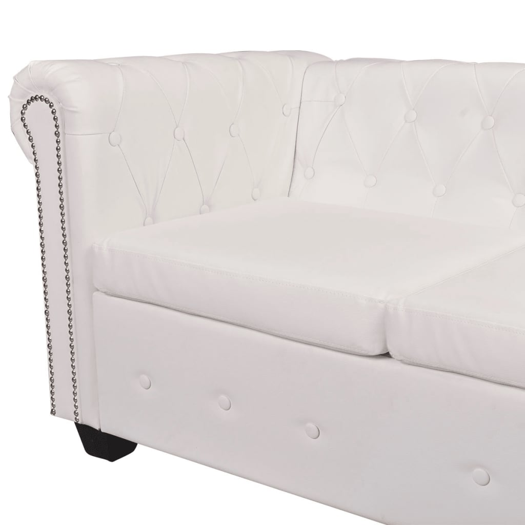 Vidaxl 6 Seater Chesterfield Corner Leather Sofa Couch Chaise White