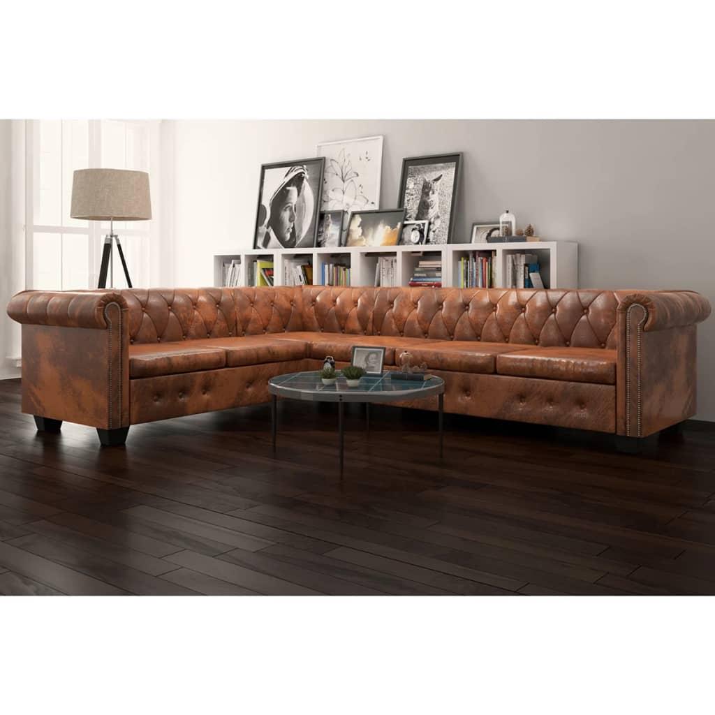 vidaXL-Chesterfield-Ecksofa-Eckcouch-Loungesofa-Couch-6-Sitzer-Kunstleder-Braun
