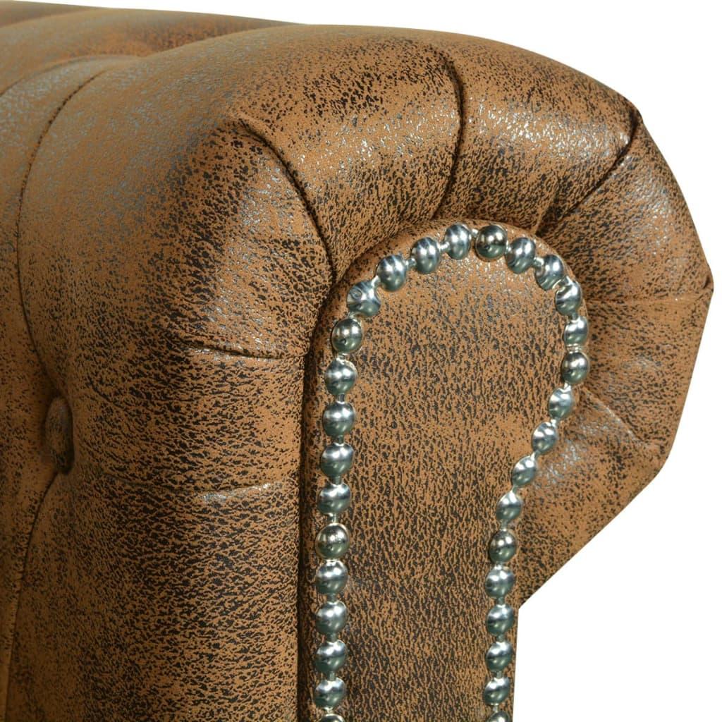 vidaxl chesterfield sofa 2 sitzer kunstleder braun g nstig kaufen. Black Bedroom Furniture Sets. Home Design Ideas