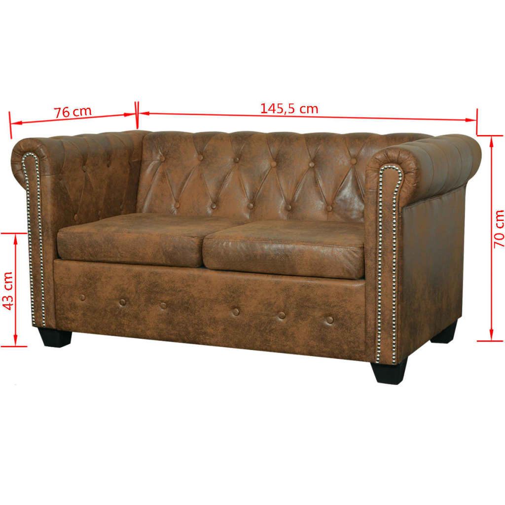 acheter vidaxl canap chesterfield 2 places cuir artificiel marron pas cher. Black Bedroom Furniture Sets. Home Design Ideas
